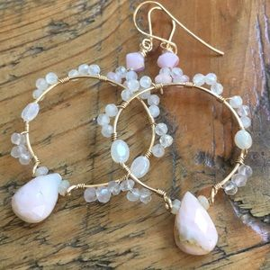 Pink opal wrapped hoops in gold fill